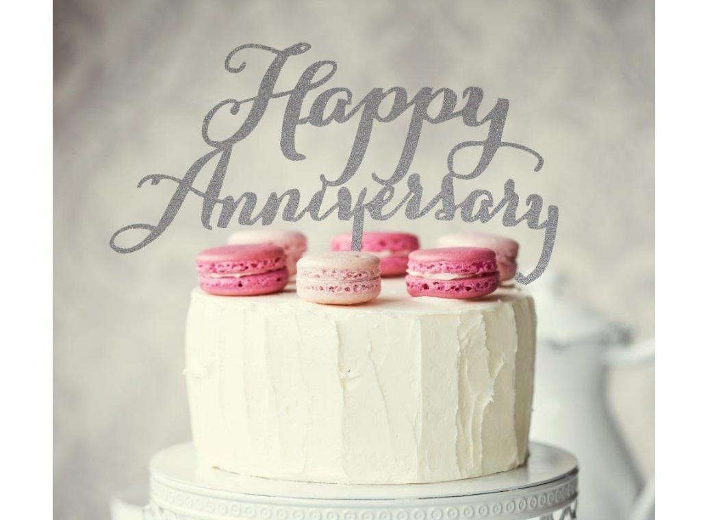 Happy Anniversary Cake Topper - Silver