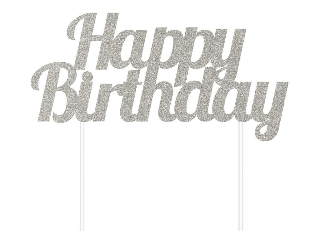 Silver Glitter Cake Topper - Happy Birthday