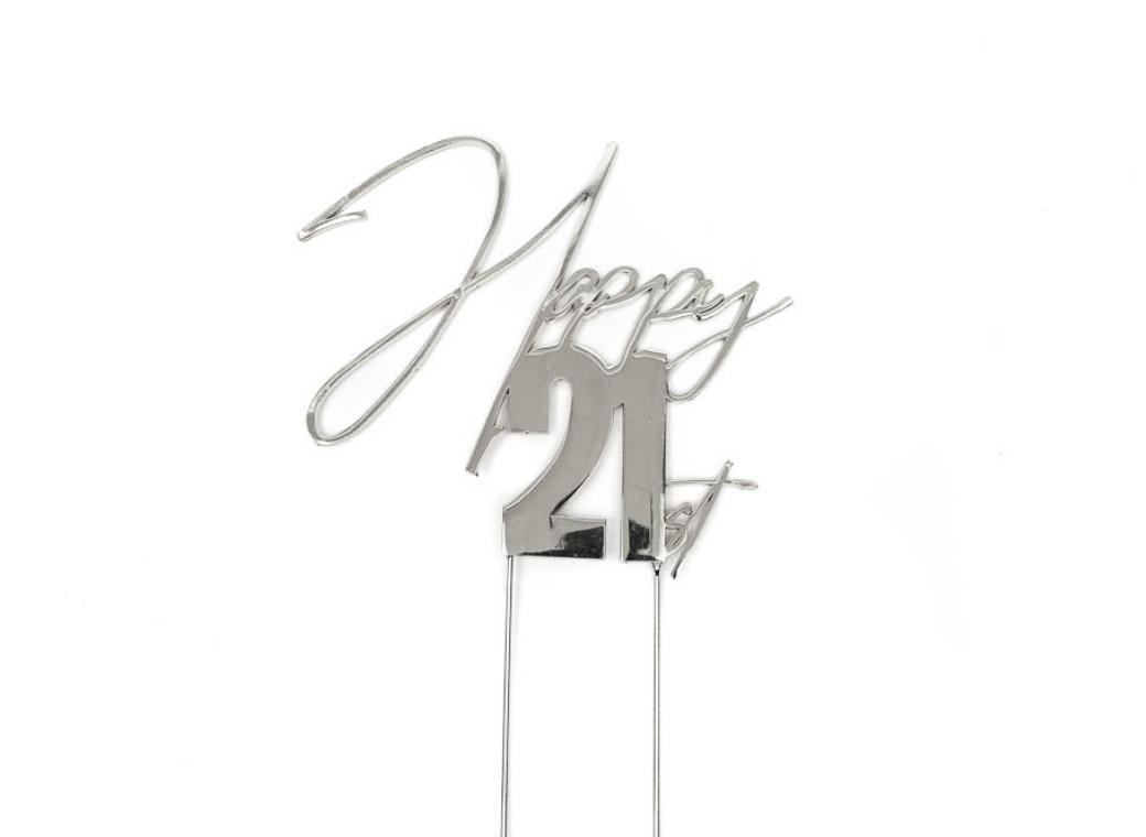 Silver Metal Cake Topper - Happy 21st