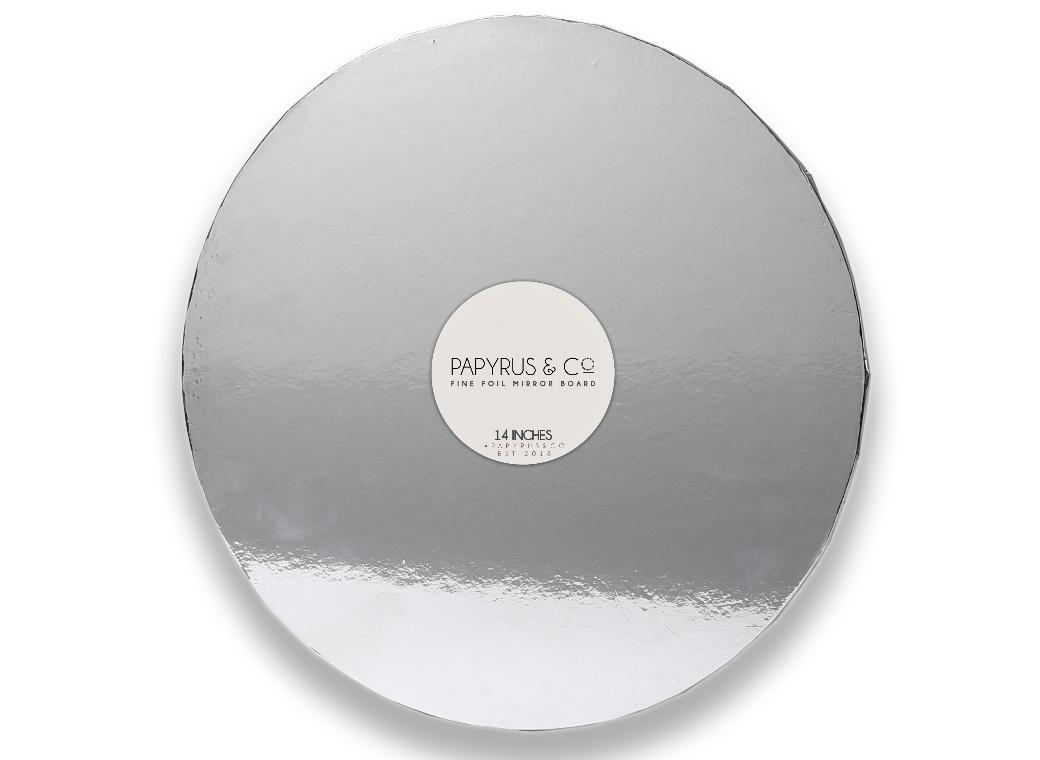 Silver Mirror Masonite Cake Board Round 14""