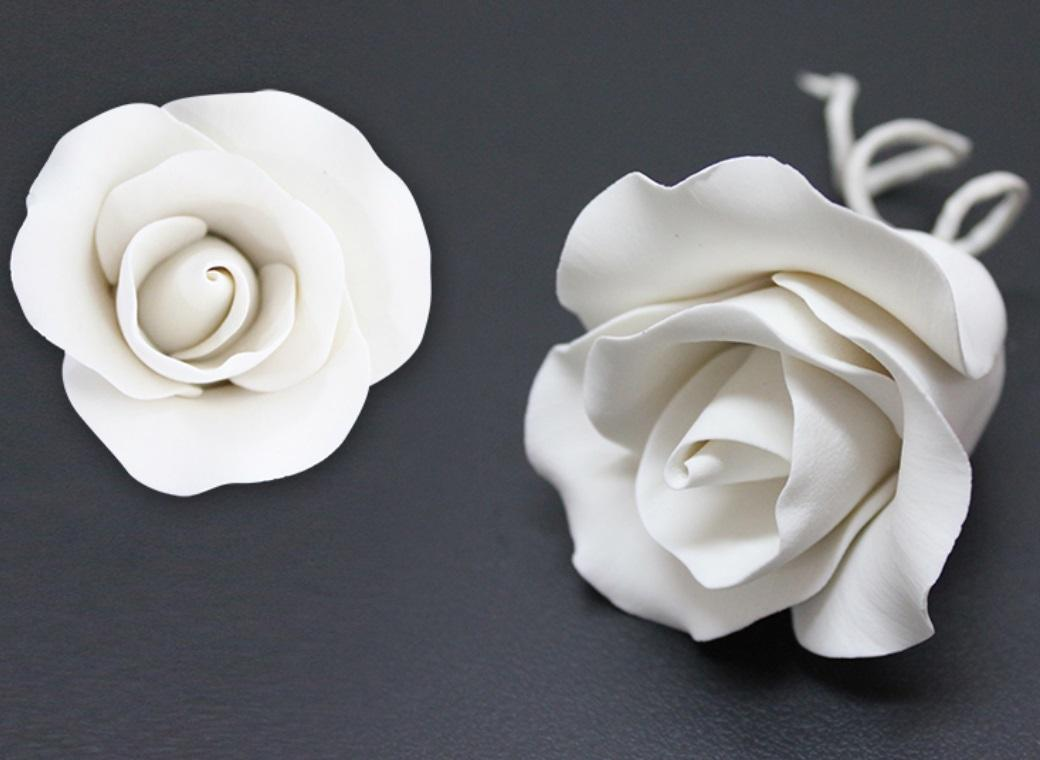 Single Gumpaste Rose Medium - White