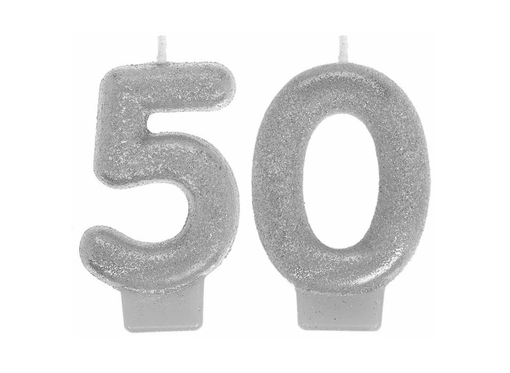 Silver Glitter 50th Candles