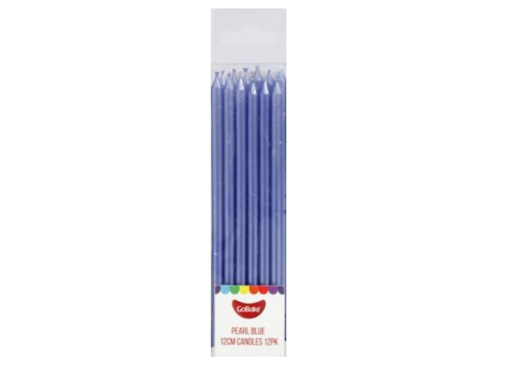 Tall Candles Pearl Blue 12pk