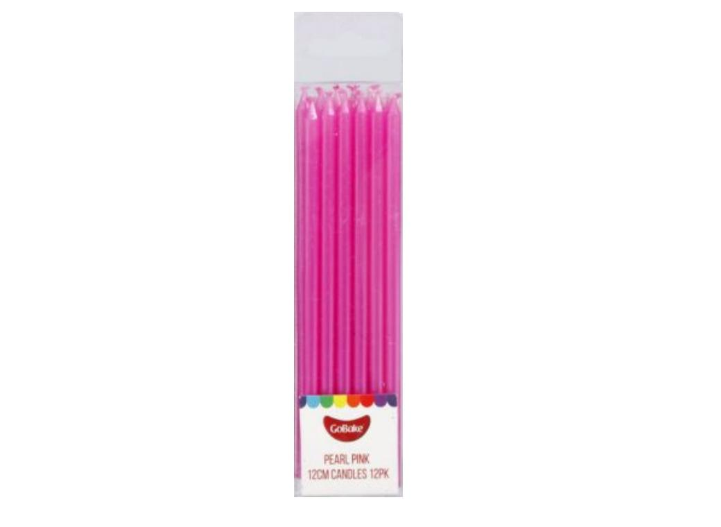 Tall Candles Pearl Pink 12pk