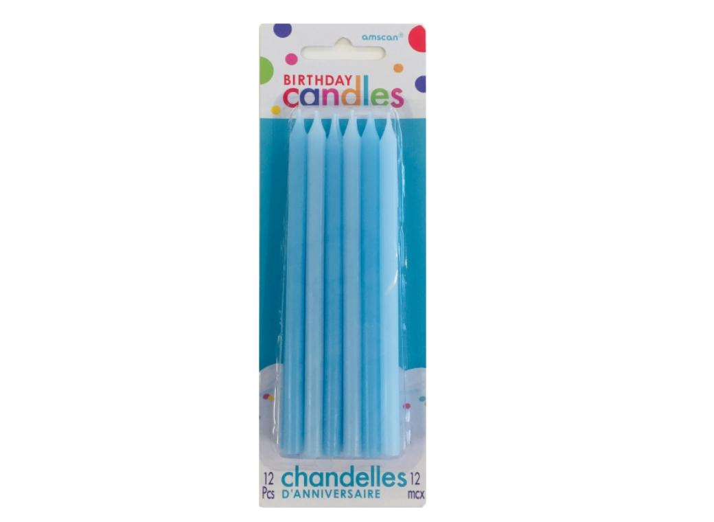 Tall Blue Candles 12pk