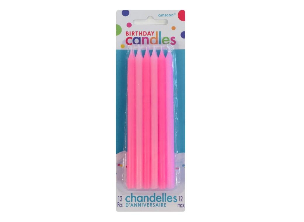 Tall Pink Candles 12pk