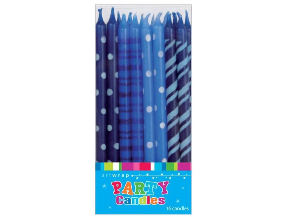 Tall Party Candles 16pk - Blues
