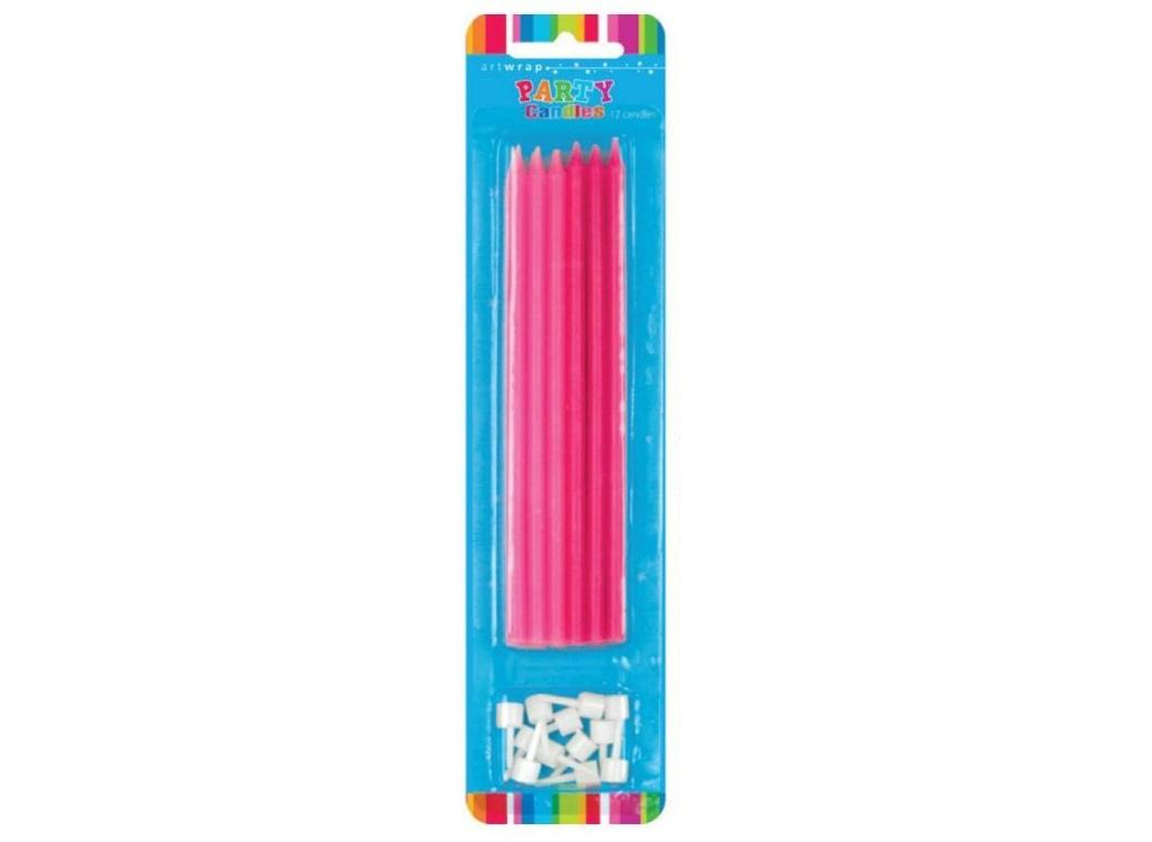 Tall Party Candles 12pk - Pink