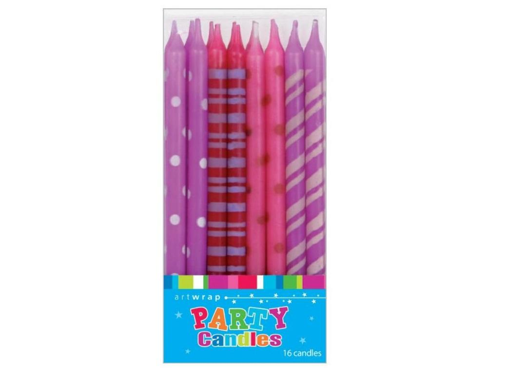 Tall Party Candles 16pk - Pinks