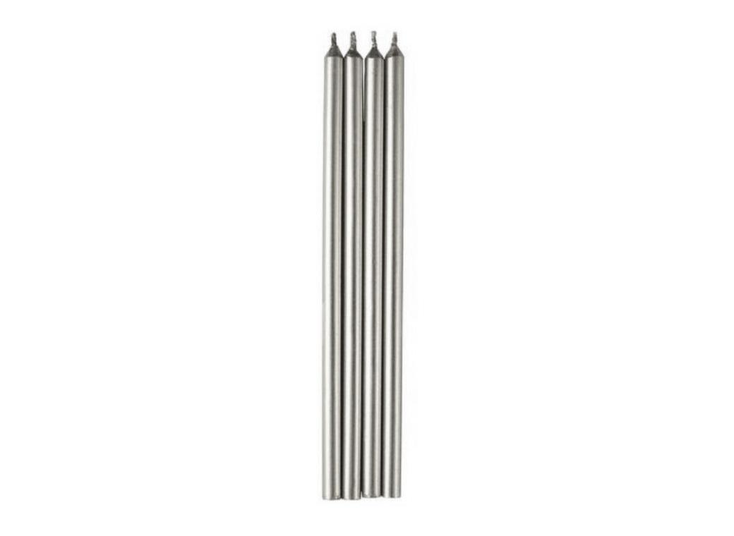Tall Silver Candles 12pk