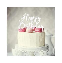 White Acrylic Cake Topper - Happy Birthday