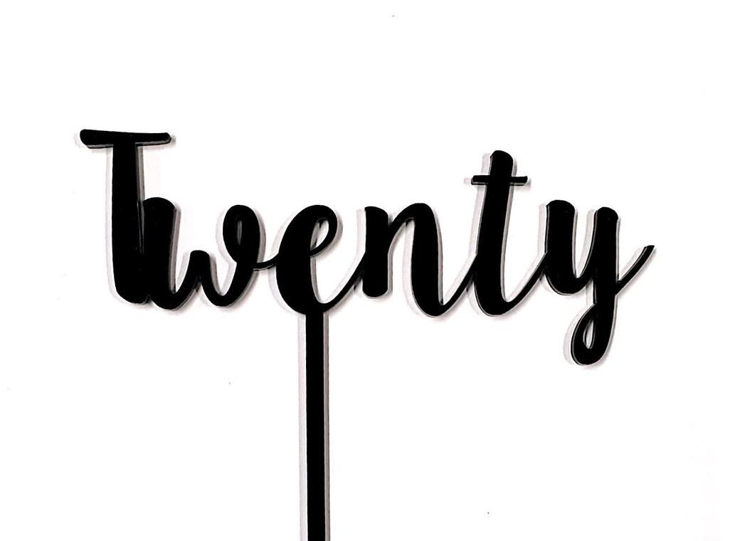 Twenty Cake Topper - Black