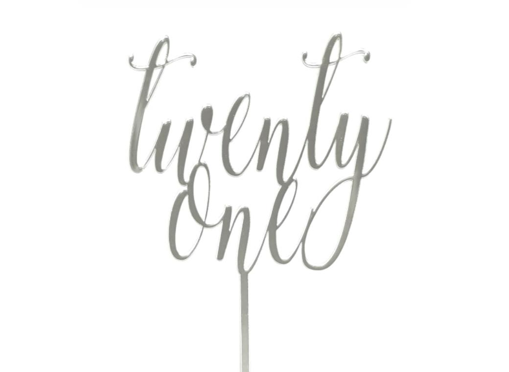 Twenty One Script Cake Topper - Silver Mirror
