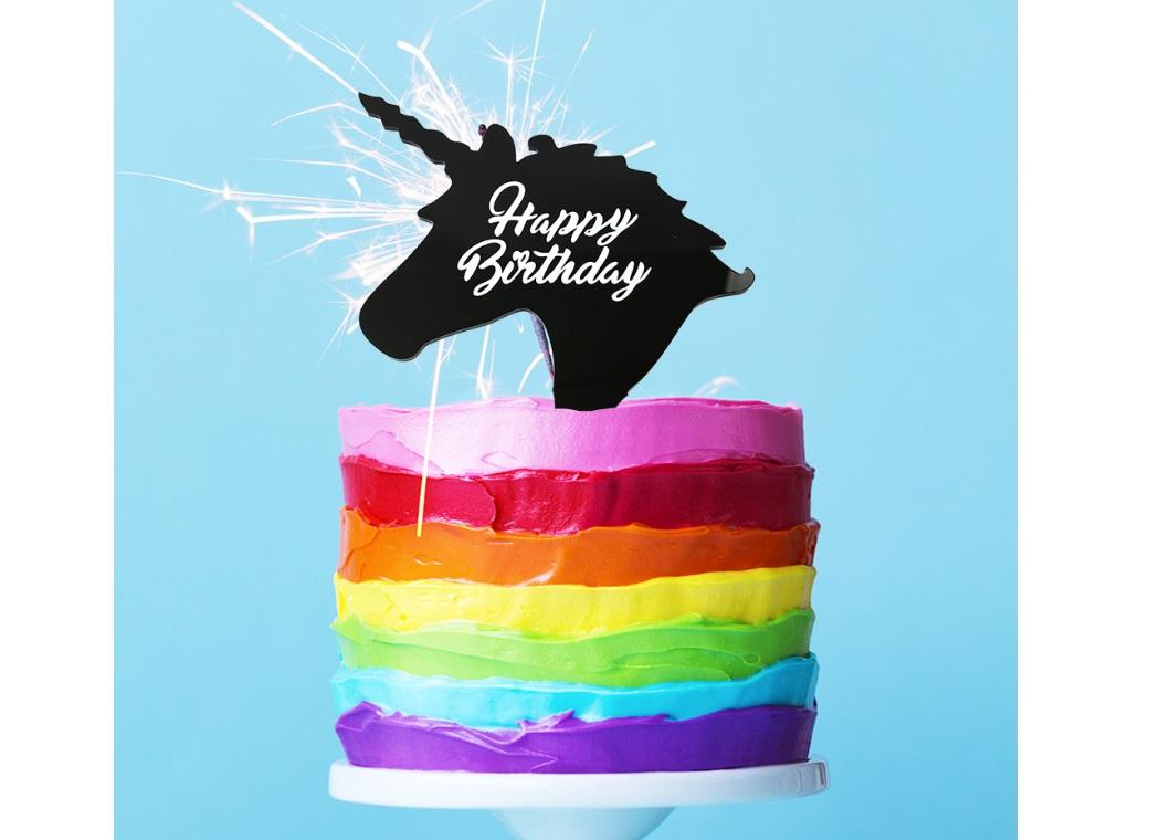 Unicorn Birthday Cake Topper Black