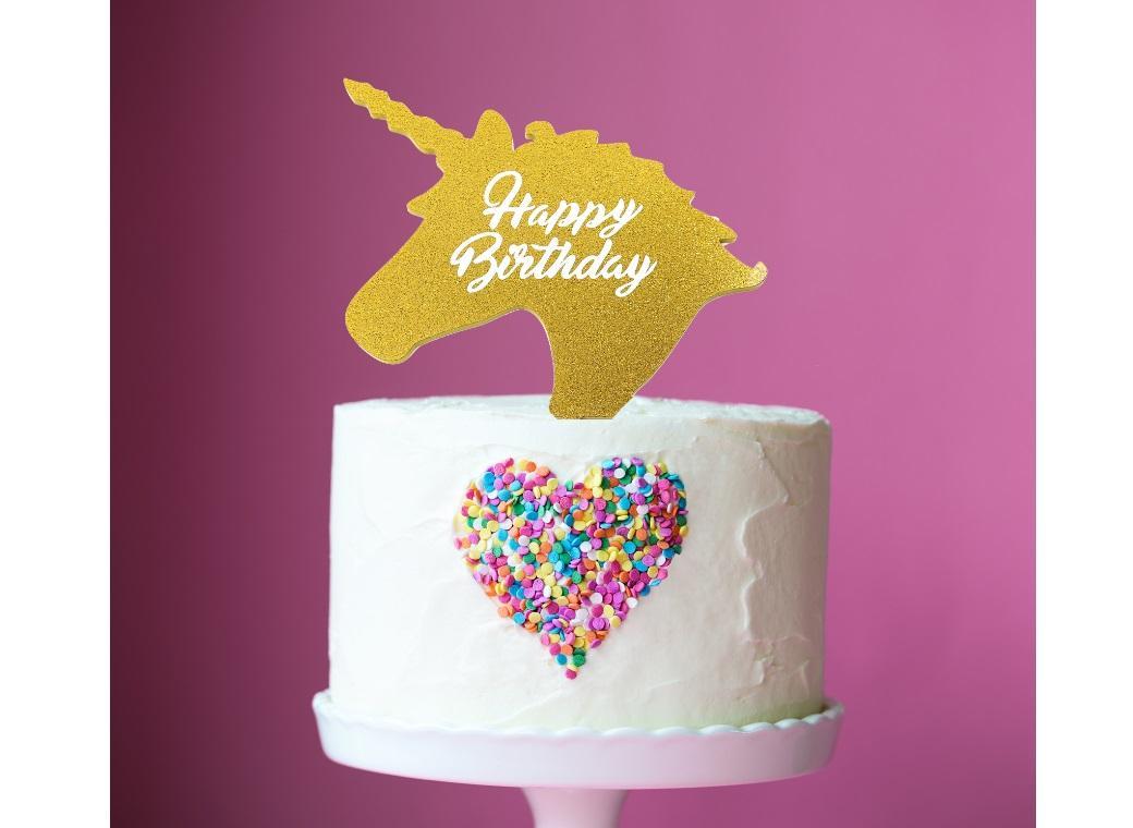 Unicorn Birthday Cake Topper Gold