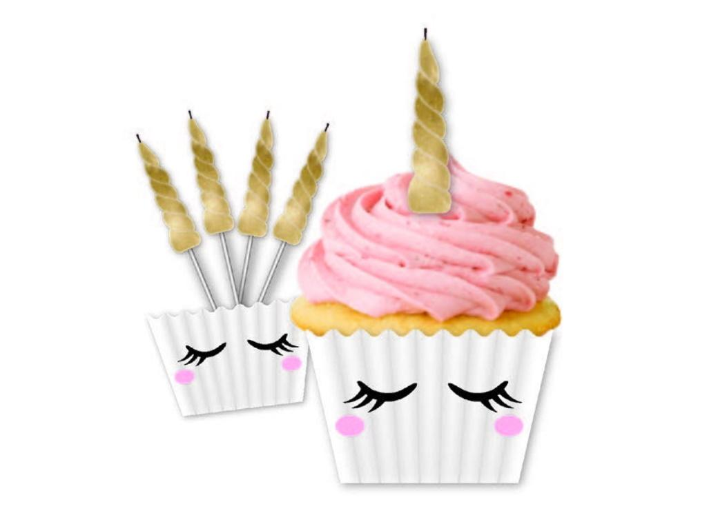 Unicorn Cupcake Cases & Candles Kit 5pk