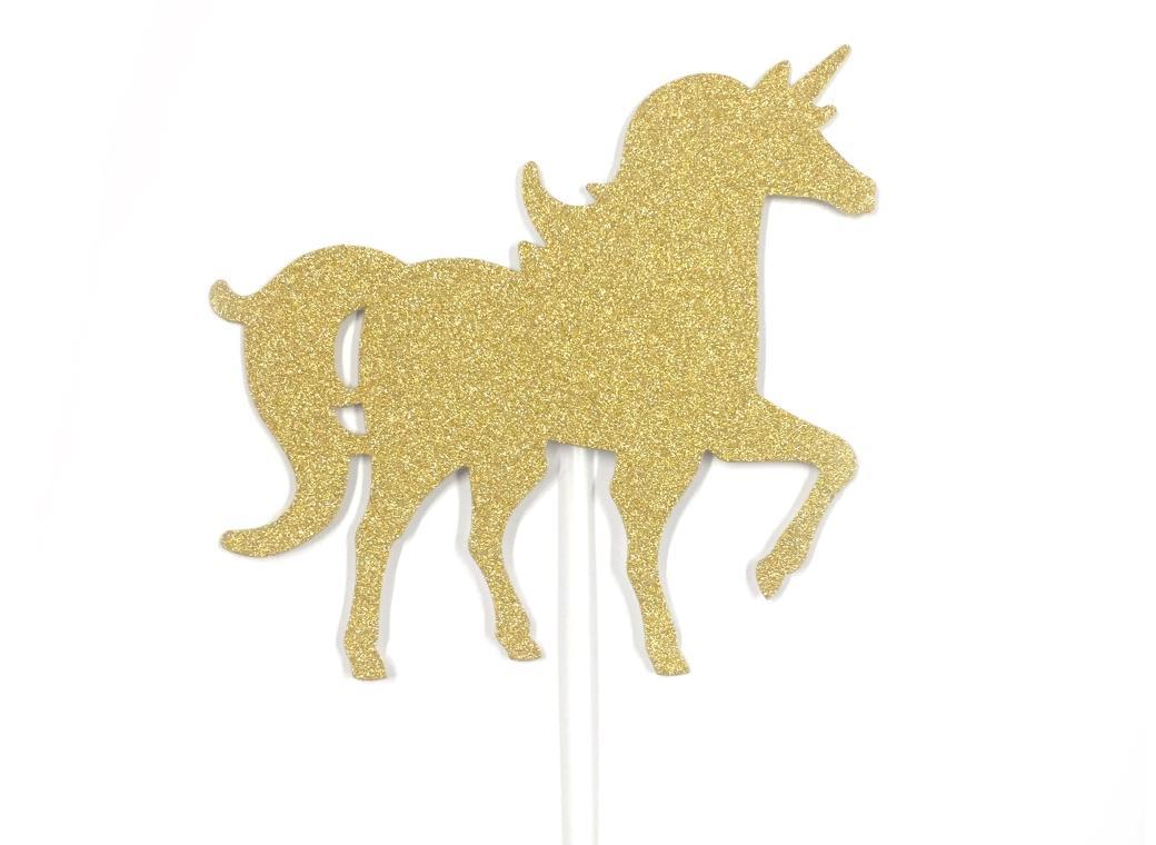 Gold Glitter Unicorn Cake Topper