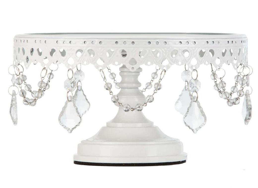 Victoria Glass Top White Cake Stand - choice of 3 sizes
