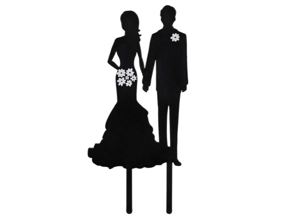Bride & Groom Silhouette Cake Topper