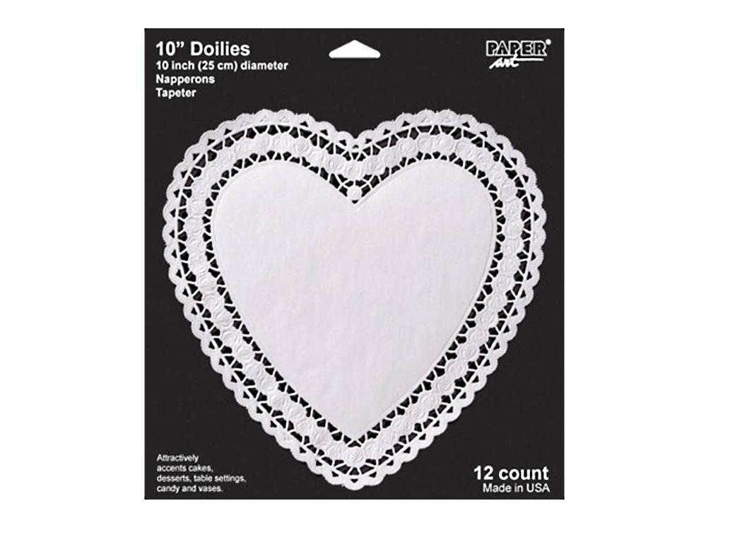 "White Heart Paper Doily - 10"" - 12pk"